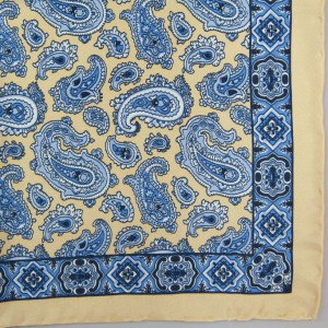 Silk Pocket Square (Paisley / Border) Yellow