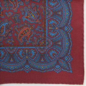 Silk Pocket Square (Paisley/Wine)