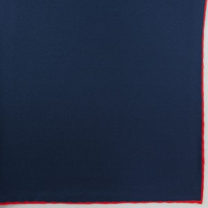 Silk Pocket Square (Navy/Red Shoestring)