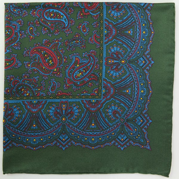 Silk pock square - Paisley - green