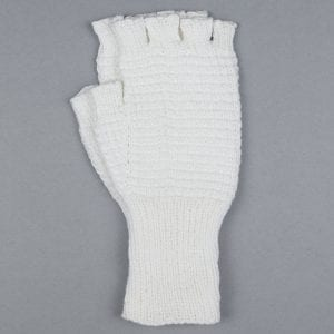 White Hand Knitted Riding Mittens