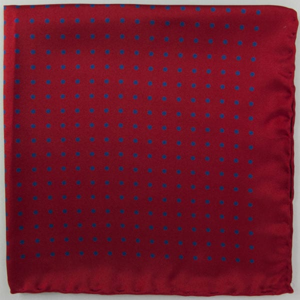 Silk pock square - Spot - red and blue