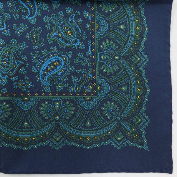 Silk pock square - Paisley - Navy