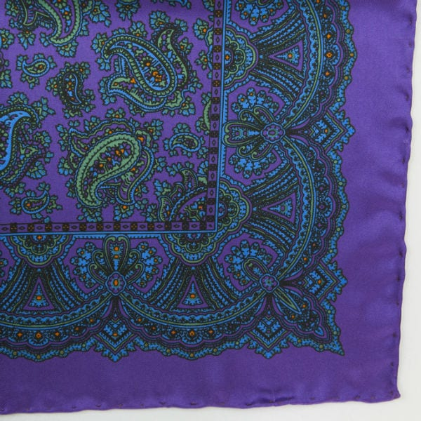 Silk pock square - Paisley - Purple