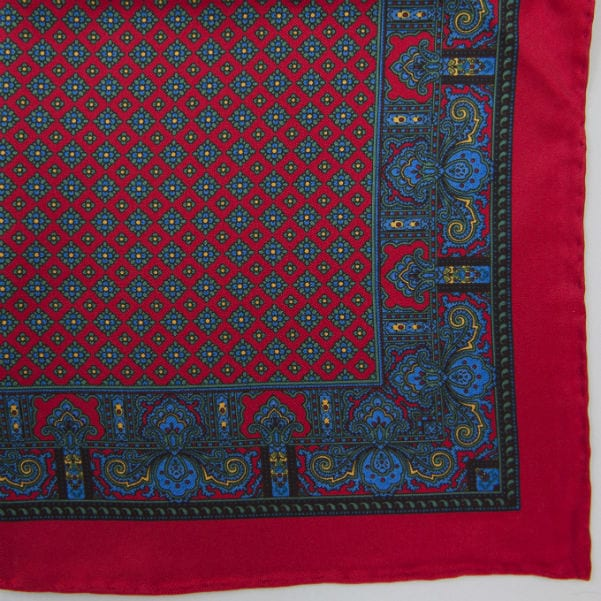 Silk pock square - Paisley & border & Diamond - Red