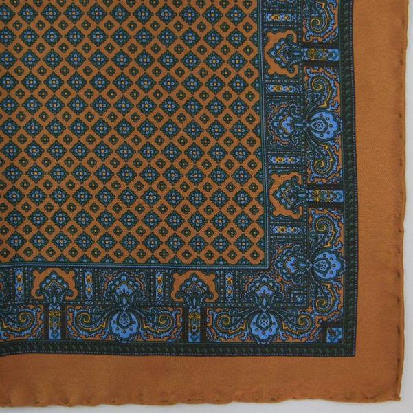 Silk pock square - Paisley & border & Diamond - Chestnut