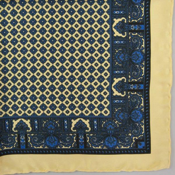 Silk pock square - Paisley & border & Diamond - Yellow