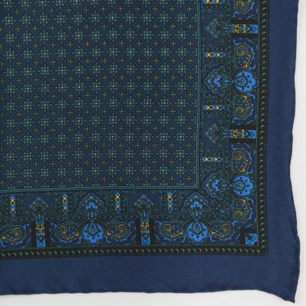 Silk pock square - Paisley & border & Diamond - Navy