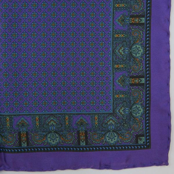 Silk pock square - Paisley & border & Diamond - Purple