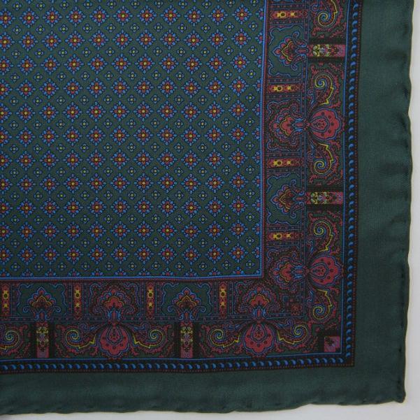 Silk pock square - Paisley & border & Diamond - green