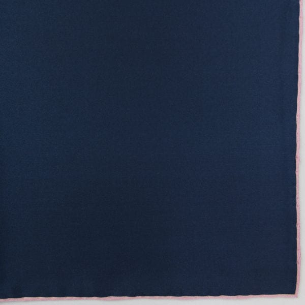 Silk pock square - navy and pink