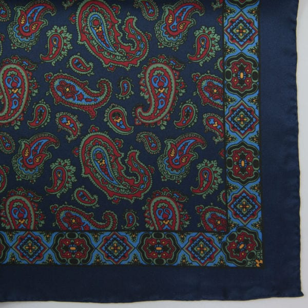 Silk pock square - Paisley & border - navy
