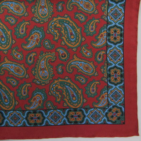 Silk pock square - Paisley & border - tudor red