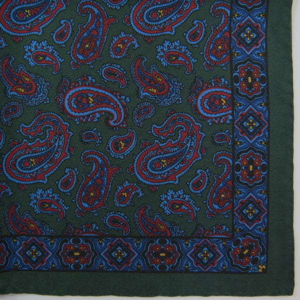 Silk pock square - Paisley & border - green