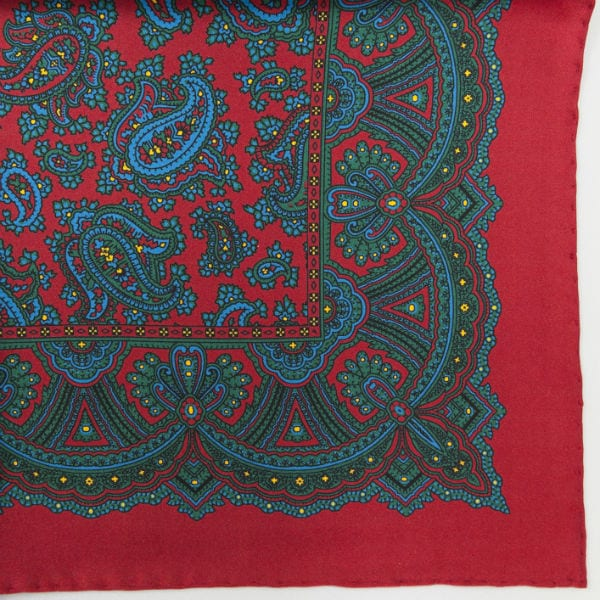 Silk pock square - Paisley - Red