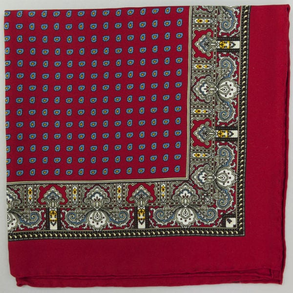 Silk pock square - Paisley & border & Pine - Red