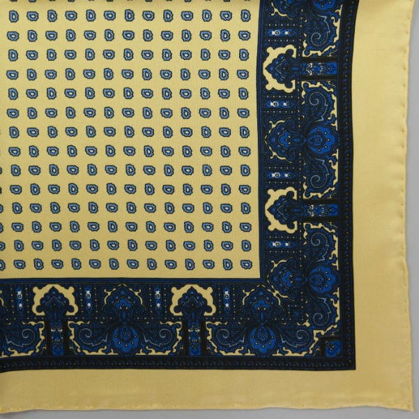 Silk pock square - Paisley & border & Pine - Yellow