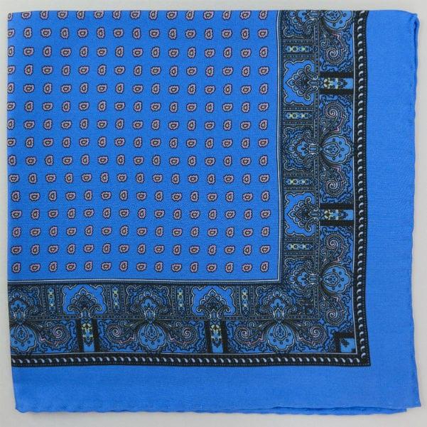 Silk pock square - Paisley & border & Pine - Heaven blue