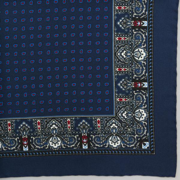 Silk pock square - Paisley & border & Pine - Blue