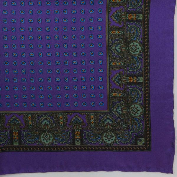Silk pock square - Paisley & border & Pine - Purple