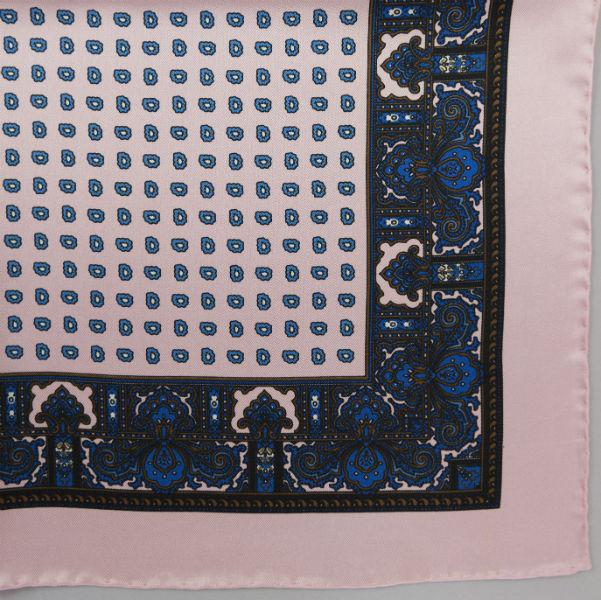 Silk pock square - Paisley & border & Pine - Pink