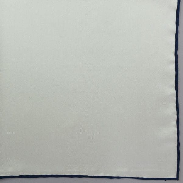 Silk pock square - white and navy