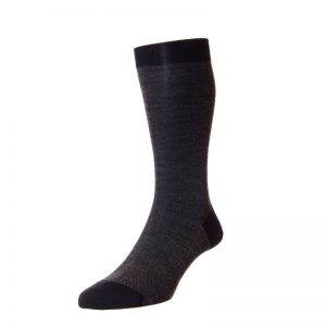 Beaumont Fine Merino Wool Birdseye Sock (Black 20)