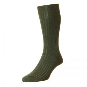 Laburnum Fine Merino Wool Sock (Dark Olive Mix)