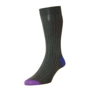 Portobello Cotton Lisle Sock (Dark Grey Mix 159)