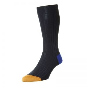 Stratford Fine Merino Wool Sock with Contrast Heel and Toe (Navy 199)