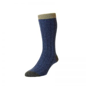 The Burghley Wool Sock with Contrast Top Heel and Toe (Denim Marl)