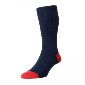 The Oxford Cotton Sock with Contrast Heel and Toe (Navy)